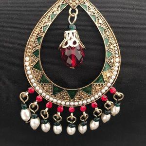 CB1973 Jewelry - Red & Green Jeweled Enamel Chandelier Earrings